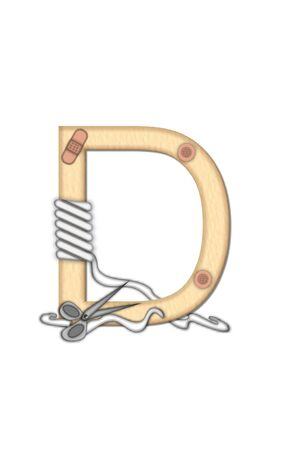 gauze: Alphabet letter D, in the set Boo Boo, is tan to represent the color of skin.  Each letter is bandaged and has bandage applied. Stock Photo