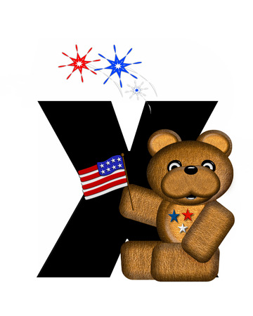 The letter X, in the alphabet set Teddy 4th of July, is black.  Brown teddy bear holds American flag.  Fireworks in red, white and blue explode around him.