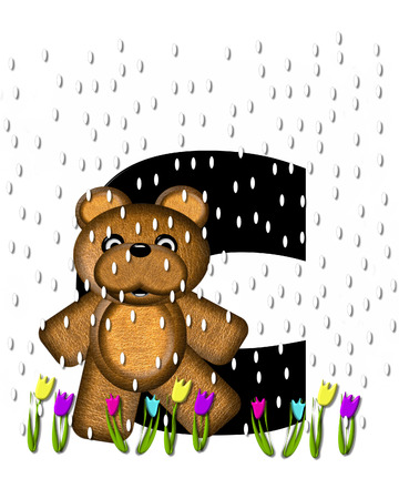 The letter C, in the alphabet set Teddy April Showers, is black.  Brown teddy bear and flowers decorate letter.  Tulips bloom as April showers fall.