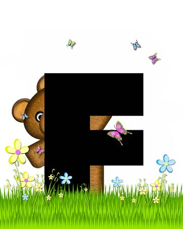 grassy field: The letter F, in the alphabet set Teddy Butterfly Field, is black.  Teddy bear chases colorful butterflies across a grassy field with wildflowers.