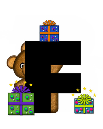 gift wrapped: The letter F, in the alphabet set Teddy Gifts Galore, is black.  Teddy bear, gift wrapped packages and stars decorate letter.