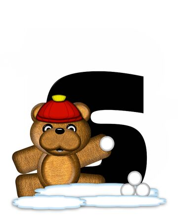 bear s: The letter S, in the alphabet set Teddy Wintertime, is black. Teddy stands on snow making and throwing snowballs.  He is wearing a red cap.