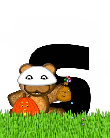 bear s: The letter S, in the alphabet set Teddy Trick or Treats, is black and is decorated with a cute brown teddy bear.  Bear is wearing a ghost mask and holding a bag of Halloween candy.  Pumpkin sits besides letter.