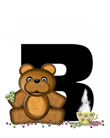 frosted: The letter B, in the alphabet set Teddy Tea Time, is black.  Teddy bear enjoys a cup of hot tea with heart shaped and frosted cookies.  Candy sprinkles cover floor. Stock Photo