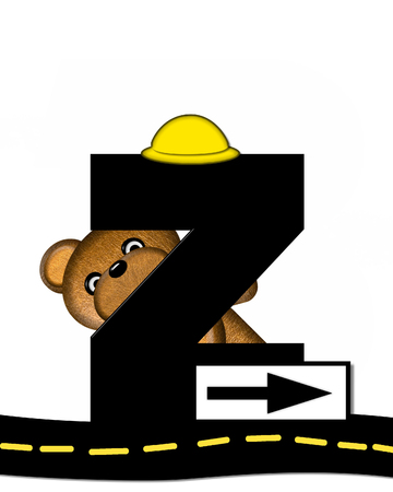 highway signs: The letter Z, in the alphabet set Teddy Highway Work, is black and sits on black highway. Teddy bear, hard hat, and highway signs decorate letter. Stock Photo