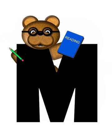 The letter M, in the alphabet set Teddy Learning, is black. Teddy bear decorates letter and he is wearing glasses.  Books and pencils surround him.