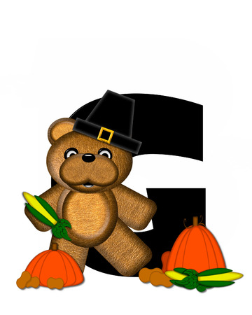 The letter G, in the alphabet set Teddy Thanksgiving, is black.  It is decorated with a cute brown teddy bear wearing a Pilgrims hat.  Pumpkin and harvest vegetables sit besides letter.