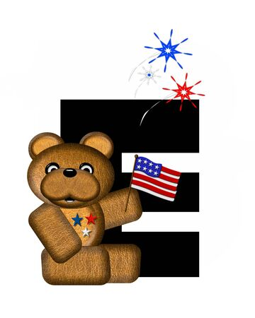 e white: The letter E, in the alphabet set Teddy 4th of July, is black.  Brown teddy bear holds American flag.  Fireworks in red, white and blue explode around him. Stock Photo