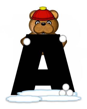snow cap: The letter A, in the alphabet set Teddy Wintertime, is black. Teddy stands on snow making and throwing snowballs.  He is wearing a red cap.