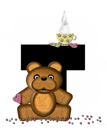 frosted: The letter T, in the alphabet set Teddy Tea Time, is black.  Teddy bear enjoys a cup of hot tea with heart shaped and frosted cookies.  Candy sprinkles cover floor. Stock Photo