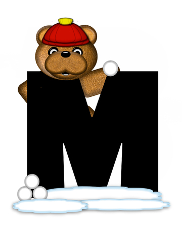 wintertime: The letter M, in the alphabet set Teddy Wintertime, is black. Teddy stands on snow making and throwing snowballs.  He is wearing a red cap. Stock Photo