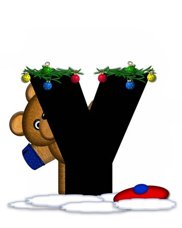 boughs: The letter Y, in the alphabet set Teddy Christmas Boughs, is black and sits on pile of snow.  Teddy Bear wearing cap and mittens, decorates letter with Christmas boughs and ornaments. Stock Photo