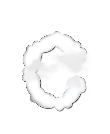 float cloud: The letter C, in the alphaet set Cloudy, is shaped like a fluffy cloud.  Whimsical and airy clouds float across its surface.