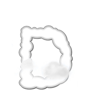 float cloud: The letter D, in the alphaet set Cloudy, is shaped like a fluffy cloud.  Whimsical and airy clouds float across its surface. Stock Photo