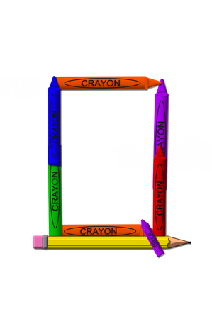 isolation: Q, in the alphabet set crayons, is formed from stacked and and turned 3D crayons.  Crayons are in the primary colors found in a crayon box.