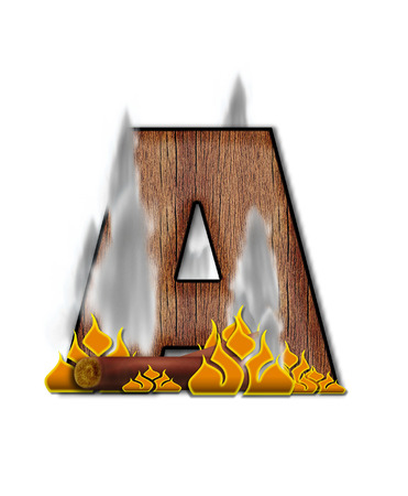 burning alphabet: The letter A, in the alphabet set Burning, is created to look like a piece of lumber surrounded by flames and smoke. Wood grained letter is outlined in black. Stock Photo