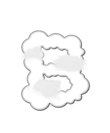 float cloud: The letter B, in the alphaet set Cloudy, is shaped like a fluffy cloud.  Whimsical and airy clouds float across its surface. Stock Photo