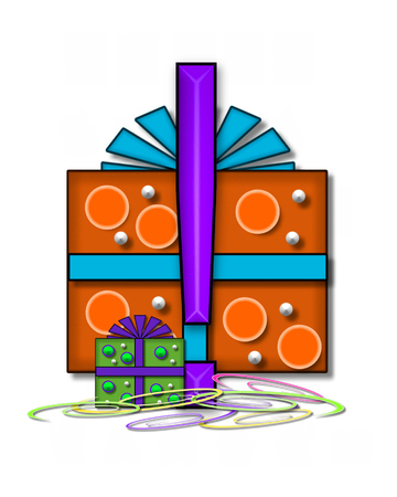 point exclamation: Exclamation point, in the alphabet set Boxes and Bows, is 3D purple and surrounded by gift boxes.  Colored streamers cover base of letter and boxes.