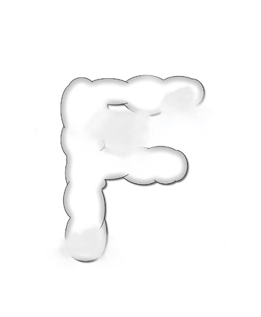 float cloud: The letter F, in the alphaet set Cloudy, is shaped like a fluffy cloud.  Whimsical and airy clouds float across its surface.