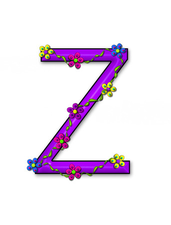 The letter Z, in the alphabet set Bursting Blooms, is a purple letter.  Flowers, vines and daisies twine around 3D letter in vibrant and fun colors.