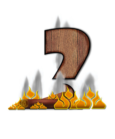 symbol. punctuation: Question Mark, in the alphabet set Burning, is created to look like a piece of lumber surrounded by flames and smoke. Wood grained letter is outlined in black.