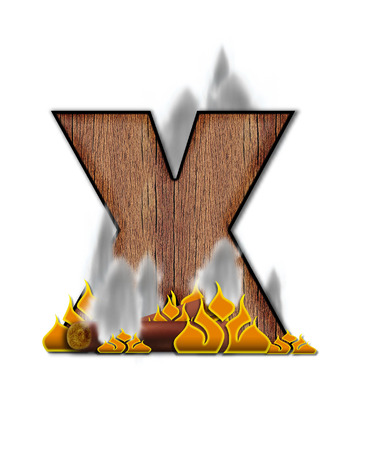 The letter X, in the alphabet set Burning, is created to look like a piece of lumber surrounded by flames and smoke. Wood grained letter is outlined in black.