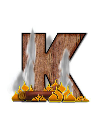 The letter K, in the alphabet set Burning, is created to look like a piece of lumber surrounded by flames and smoke. Wood grained letter is outlined in black.
