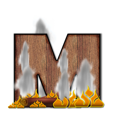 burning alphabet: The letter M, in the alphabet set Burning, is created to look like a piece of lumber surrounded by flames and smoke. Wood grained letter is outlined in black.