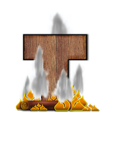 burning alphabet: The letter T, in the alphabet set Burning, is created to look like a piece of lumber surrounded by flames and smoke. Wood grained letter is outlined in black.