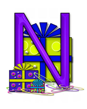 The letter N, in the alphabet set Boxes and Bows, is 3D purple and surrounded by gift boxes.  Colored streamers cover base of letter and boxes. Stock Photo