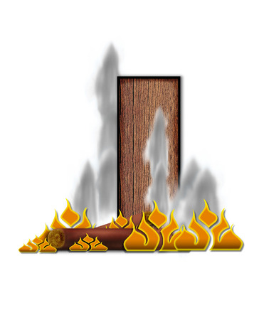 The letter I, in the alphabet set Burning, is created to look like a piece of lumber surrounded by flames and smoke. Wood grained letter is outlined in black.