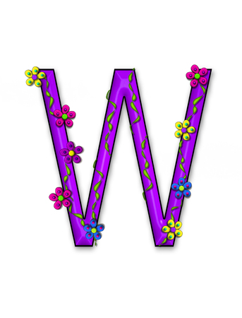 fun  twining: The letter W, in the alphabet set Bursting Blooms, is a purple letter.  Flowers, vines and daisies twine around 3D letter in vibrant and fun colors. Stock Photo
