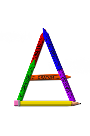 isolation: A, in the alphabet set crayons, is formed from stacked and and turned 3D crayons.  Crayons are in the primary colors found in a crayon box. Stock Photo