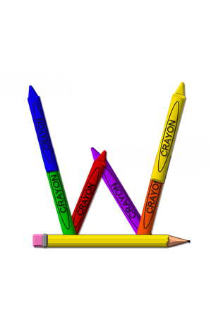 W, in the alphabet set crayons, is formed from stacked and and turned 3D crayons.  Crayons are in the primary colors found in a crayon box. Stock Photo