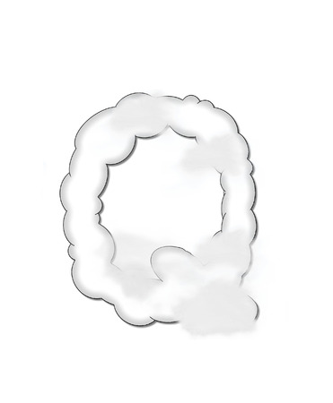 float cloud: The letter Q, in the alphaet set Cloudy, is shaped like a fluffy cloud.  Whimsical and airy clouds float across its surface. Stock Photo