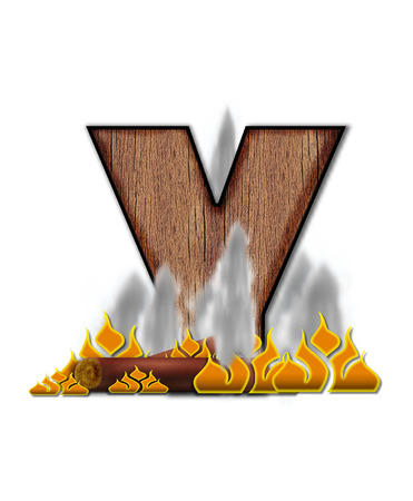 y shaped: The letter Y, in the alphabet set Burning, is created to look like a piece of lumber surrounded by flames and smoke. Wood grained letter is outlined in black.