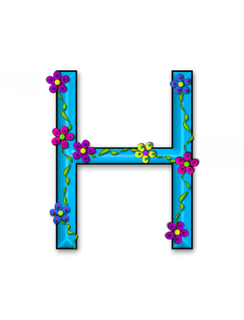 fun  twining: The letter H, in the alphabet set Bursting Blooms, is a teal letter.  Flowers, vines and daisies twine around 3D letter in vibrant and fun colors. Stock Photo