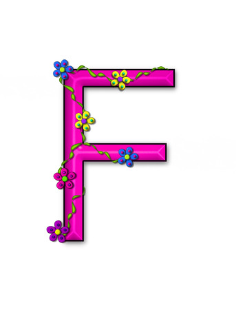 fun  twining: The letter F, in the alphabet set Bursting Blooms, is a pink letter.  Flowers, vines and daisies twine around 3D letter in vibrant and fun colors. Stock Photo
