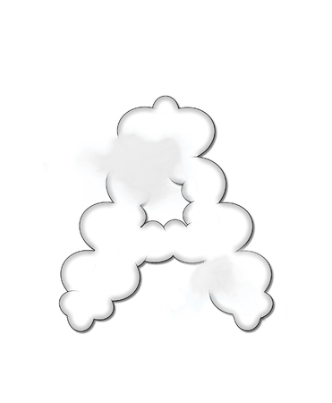 float cloud: The letter A, in the alphaet set Cloudy, is shaped like a fluffy cloud.  Whimsical and airy clouds float across its surface.