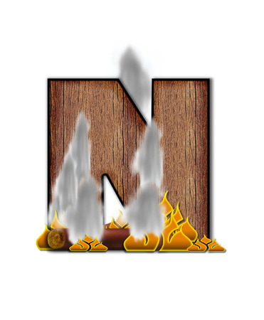 burning alphabet: The letter N, in the alphabet set Burning, is created to look like a piece of lumber surrounded by flames and smoke. Wood grained letter is outlined in black.