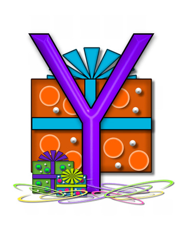 The letter Y, in the alphabet set Boxes and Bows, is 3D purple and surrounded by gift boxes.  Colored streamers cover base of letter and boxes. Stock Photo