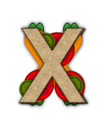 deli sandwich: The letter ,X in the alphabet set Deli Lunch, resembles bread with inside layers of cheese, tomatoes, and pickles. Stock Photo