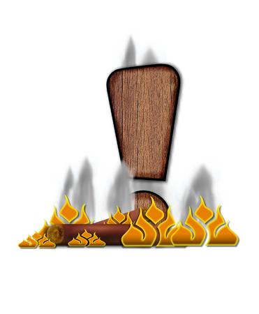 point exclamation: Exclamation Point, in the alphabet set Burning, is created to look like a piece of lumber surrounded by flames and smoke. Wood grained letter is outlined in black.
