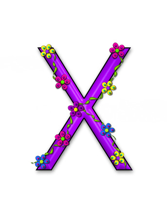 The letter X, in the alphabet set Bursting Blooms, is a purple letter.  Flowers, vines and daisies twine around 3D letter in vibrant and fun colors. Stock Photo