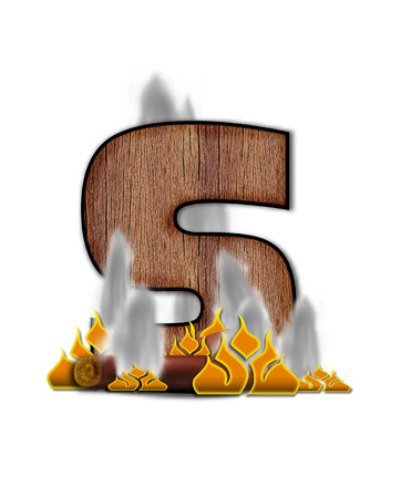 burning alphabet: The letter S, in the alphabet set Burning, is created to look like a piece of lumber surrounded by flames and smoke. Wood grained letter is outlined in black. Stock Photo