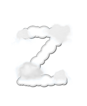 float cloud: The letter Z, in the alphaet set Cloudy, is shaped like a fluffy cloud.  Whimsical and airy clouds float across its surface.