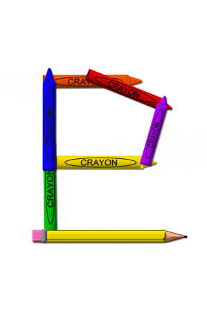 P, in the alphabet set crayons, is formed from stacked and and turned 3D crayons.  Crayons are in the primary colors found in a crayon box.