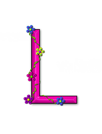 The letter L, in the alphabet set Bursting Blooms, is a pink letter.  Flowers, vines and daisies twine around 3D letter in vibrant and fun colors. Stock Photo