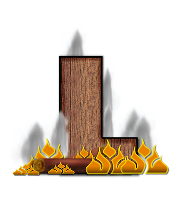 burning alphabet: The letter L, in the alphabet set Burning, is created to look like a piece of lumber surrounded by flames and smoke. Wood grained letter is outlined in black. Stock Photo