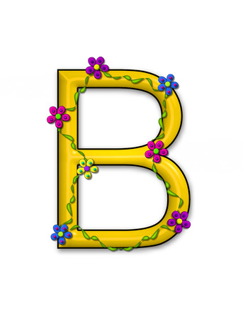 fun  twining: The letter B, in the alphabet set Bursting Blooms, is a letter.  Flowers, vines and daisies twine around 3D letter in vibrant and fun colors.